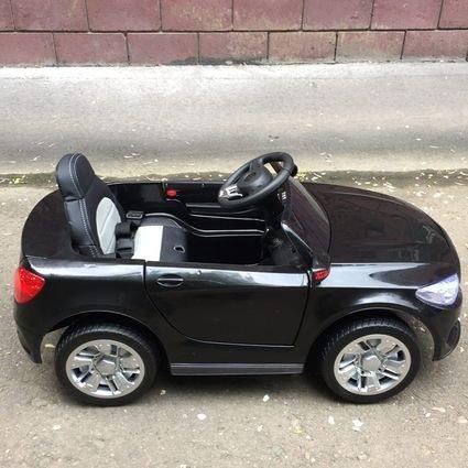Электромобиль Мерседес Б111ОС черный (колеса резина, сиденье, кожа, пульт, музыка)